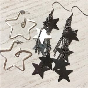 Vintage Jewelry - Vintage 80's Dangle Star Earring Bundle Lot 77